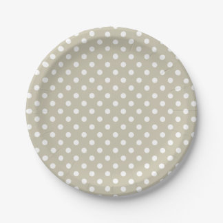 Beige Neutral Polka Dots Stylish  Modern Chic 7 Inch Paper Plate