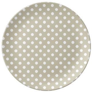 Beige Neutral Polka Dots Stylish  Modern Chic Porcelain Plates