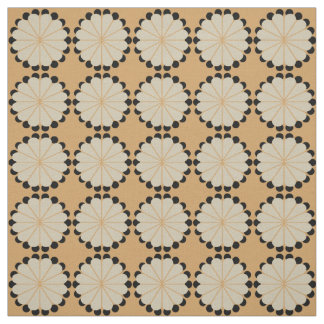 Beige Orange Floral Ornament Pattern Fabric