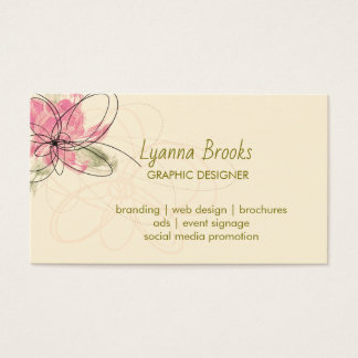 Beige Orchard Pink Floral Business Card