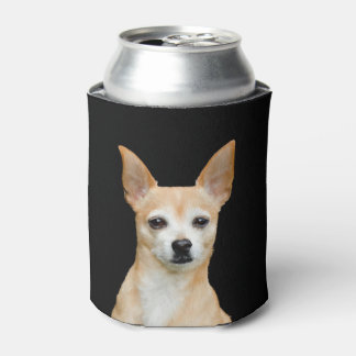 Beige painted chihuahua on black background can cooler