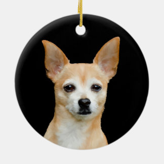 Beige painted chihuahua on black background ceramic ornament