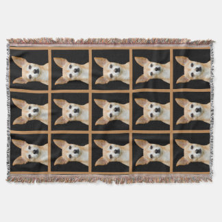 Beige painted chihuahua on black background throw blanket