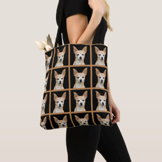 Beige painted chihuahua on black background tote bag