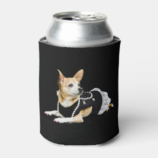 Beige painted glam chihuahua on black background can cooler