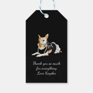 Beige painted glam chihuahua on black background gift tags
