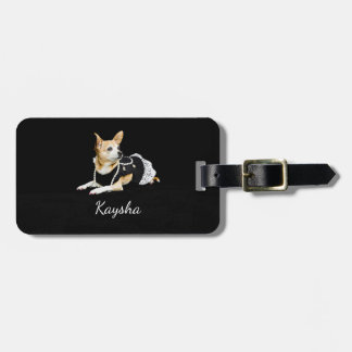 Beige painted glam chihuahua on black background luggage tag