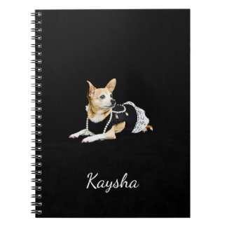 Beige painted glam chihuahua on black background notebook