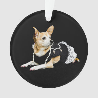 Beige painted glam chihuahua on black background ornament