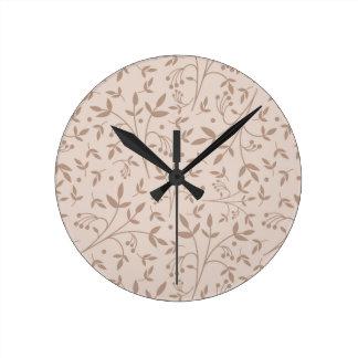 Beige pattern round clock