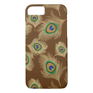 Beige Peacock Feathers on Chocolate Brown iPhone 7 Case