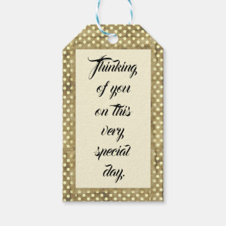Beige Polka Dot, Thinking of you Gift Tag