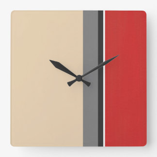 Beige Red Gray Black White Modern Square Wall Clock