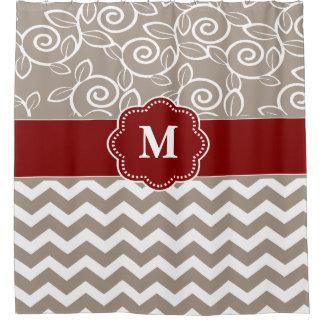 Beige Red Swirl Chevron Monogram Shower Curtain