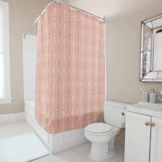 Beige salmon pink simple elegant shower curtain