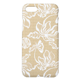 Beige Sand Lace Overlay Pattern White Netting Mesh iPhone 7 Case