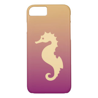 Beige Seahorse On Beige And Purple Gradient iPhone 8/7 Case