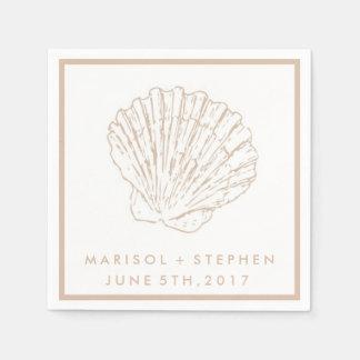 Beige Seashell Beach Wedding Personalized Napkins Disposable Serviette