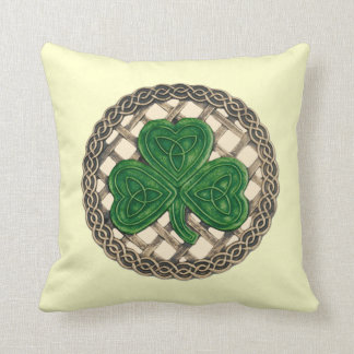 Beige Shamrock And Celtic Knots Reversible Pillow