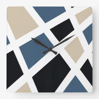 Beige Slate Black White Geometric Square Wall Clock
