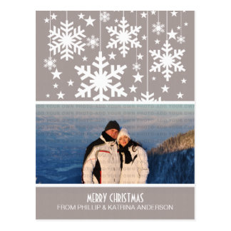 Beige Snowflakes Stars Photo Postcard