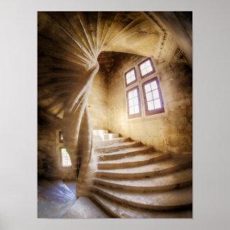 Beige spirl staircase, France Poster