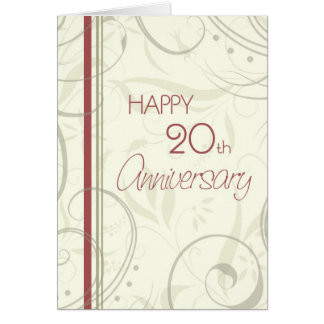 Beige Swirls Happy 20th Wedding Anniversary Card