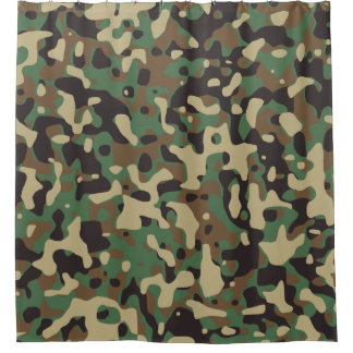 Beige, Tan Brown, Green, Dark Gray Camo Camouflage Shower Curtain