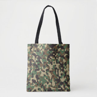 Beige, Tan Brown, Green, Dark Gray Camouflage Tote Bag