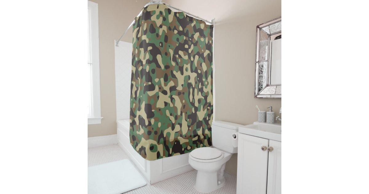 Beige Tan Brown Green Dark Grey Camo Camouflage Shower