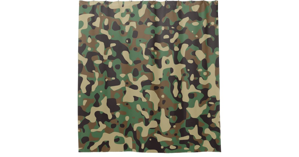 Beige Tan Brown Green Dark Grey Camo Camouflage Shower Curtain Zazzle