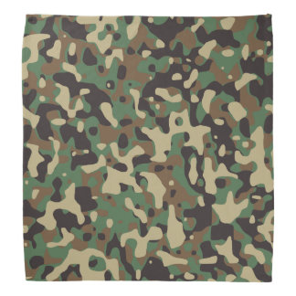 Beige, Tan Brown, Green, Gray Woodland Camouflage Bandana