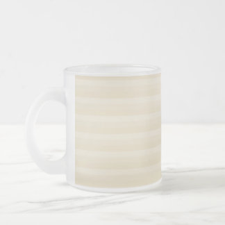 Beige Tan Color Stripe Pattern. Frosted Glass Coffee Mug