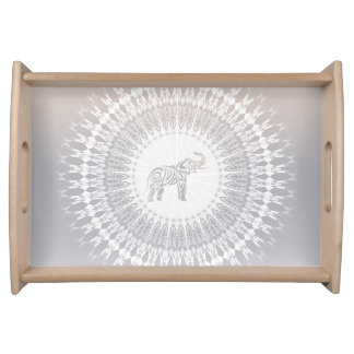 Beige Taupe Elephant Mandala Serving Tray