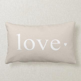 Beige Taupe Love Heart Monogram Throw Cushion