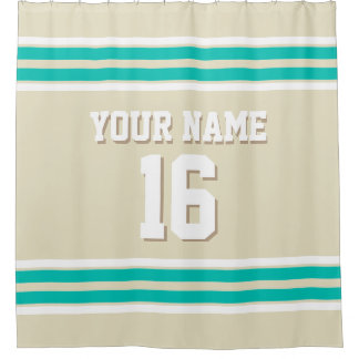 Beige Teal White Stripes Sports Jersey Shower Curtain