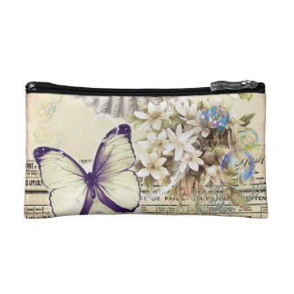beige vintage butterfly seashell French botanical Makeup Bag