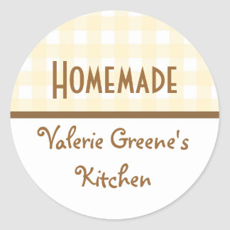 Beige white brown gingham homemade food label seal