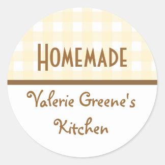 Beige white brown gingham homemade food label seal round sticker