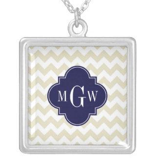 Beige White Chevron Navy Quatrefoil 3 Monogram Square Pendant Necklace