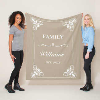 Beige & White Decorative Frame Custom Family Name Fleece Blanket