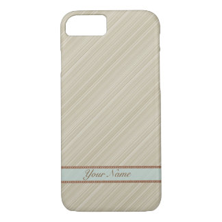 Beige white diagonal stripes personalized name iPhone 8/7 case