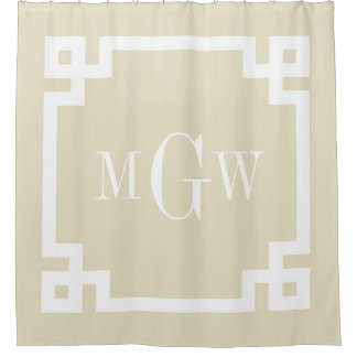 Beige White Greek Key #2 Framed 3I Monogram Shower Curtain