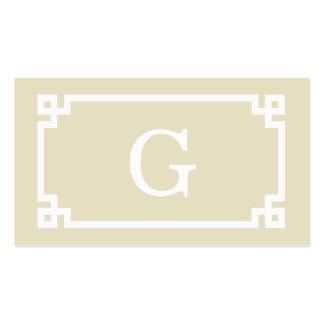Beige White Greek Key Frame #2 Initial Monogram Business Card