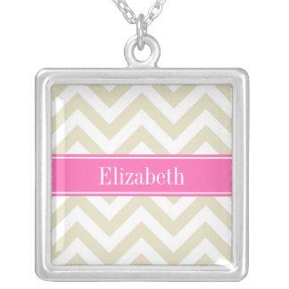 Beige White LG Chevron Hot Pink #2 Name Monogram Square Pendant Necklace