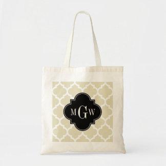 Beige, White Moroccan #5 Black 3 Initial Monogram Tote Bag