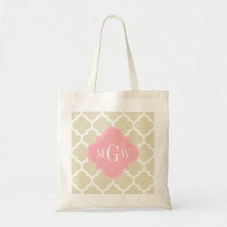 Beige, White Moroccan #5 Pink 3 Initial Monogram Tote Bag