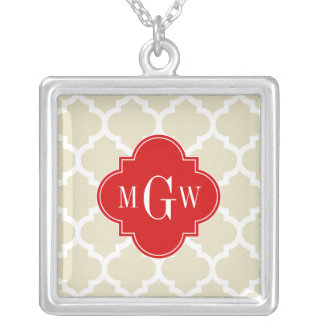 Beige, White Moroccan #5 Red 3 Initial Monogram Jewelry