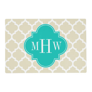 Beige White Moroccan #5 Teal 3 Initial Monogram Laminated Placemat