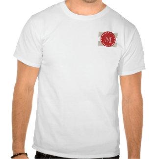 Beige White Stripes Pattern Red Monogram Tshirts